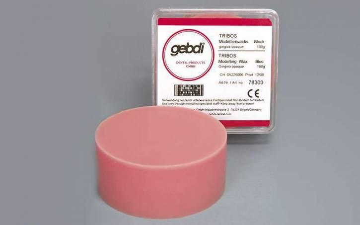 TRIBOS Modellierwachs, Block, gingiva 100g